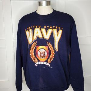 Vtg Single Stitch 90s Blue US Navy Sweatshirt XL
